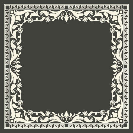 curlicue: Vector floral and geometric monogram frame on dark gray background. Monogram design element. Vintage styled initial decoration.