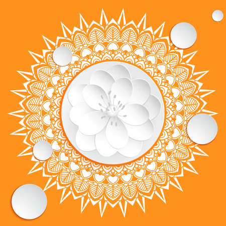 Vector ornamental round lace with damask and arabesque elements. Mehndi style. Orient traditional ornament. With 3d white flower.