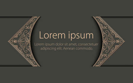 Vector floral and geometric monogram frame on dark gray background with sample text. Monogram design element.