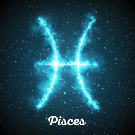 Vector abstract zodiac sign Pisces on a dark blue background of the space with shining stars. Nebula in form of zodiac sign Pisces. Abstract glowing zodiac sign Pisces, The Fish, Greek: Ikhthyes Illustration