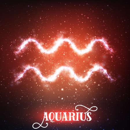 Vector abstract zodiac sign Aquarius on a dark red background of the space with shining stars. Nebula in form of Aquarius sign. Glowing zodiac sign Aquarius, The Water-Bearer greek:Hydrokhoos Illustration