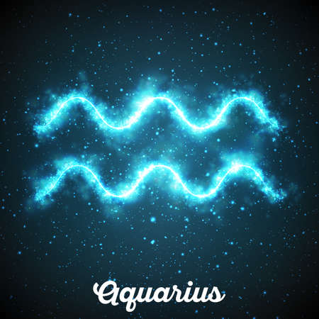 Vector abstract zodiac sign Aquarius on a dark blue background of the space with shining stars. Nebula in form of Aquarius sign. Glowing zodiac sign Aquarius, The Water-Bearer, greek:Hydrokhoos