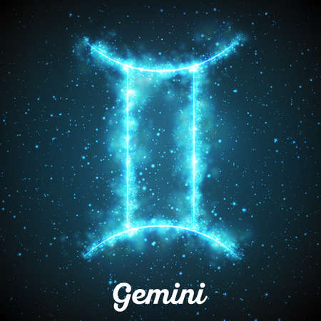 Vector abstract zodiac sign Gemini on a dark blue background of the space with shining stars. Nebula in form of zodiac sign Gemini. Abstract glowing zodiac sign Gemini, The Twins, greek:Didymoi