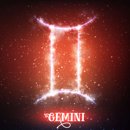 Vector abstract zodiac sign Gemini on a dark red background of the space with shining stars. Nebula in form of zodiac sign Gemini. Abstract glowing zodiac sign Gemini, The Twins greek:Didymoi Ilustracja