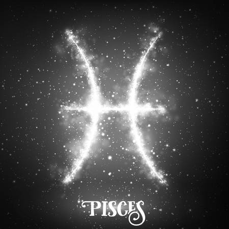 Vector abstract zodiac sign Pisces on a dark background of the space with shining stars. Nebula in form of zodiac sign Pisces. Abstract glowing zodiac sign Pisces, The Fish Greek: Ikhthyes Illustration