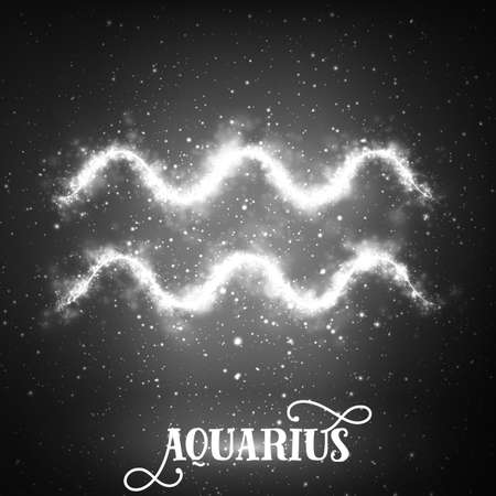 Vector abstract zodiac sign Aquarius on a dark background of the space with shining stars. Nebula in form of Aquarius sign. Glowing zodiac sign Aquarius, The Water-Bearer greek:Hydrokhoos Illustration