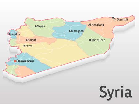 Siria mapa 3d con las principales ciudades y gobernaciones. Mapa volumétrico con ciudades y carreteras. Ilustración de vector