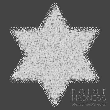 Illustration of abstract dotted symbol Star of David. Judaism sacred geometry sign made in stippling technique. Isolated halftone symbol. Pointillism. Illustration