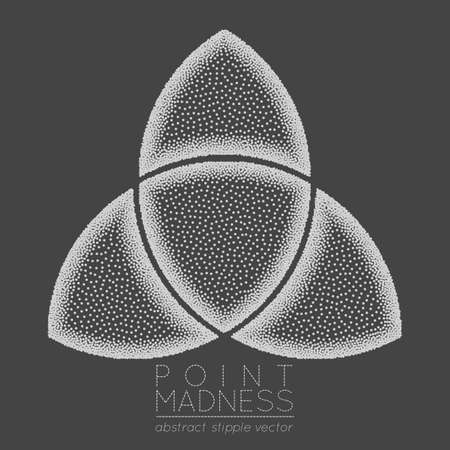 Black Vector illustration of abstract dotted symbol triquetra. Celtic sacred geometry sign made in stippling technique. Isolated halftone symbol. Pointillism.