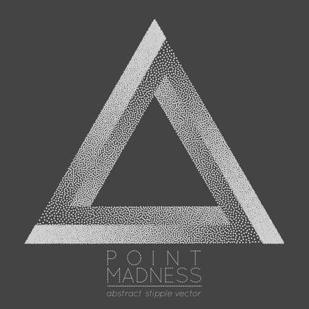 A Vector illustration of abstract dotted symbol Penrose triangle. Sacred geometry sign made in stippling technique. Isolated halftone symbol. Pointillism. Penrose tribar.