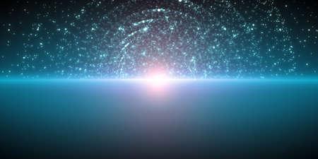 Vector unendlichen Raum Hintergrund. Matrix der glühenden Sterne mit Illusion von Tiefe und Perspektive. Zusammenfassung Cyber ??feurigen Sonnenaufgang über Meer. Abstraktes futuristisches Universum auf dunkelblauem Hintergrund. Standard-Bild - 76090740