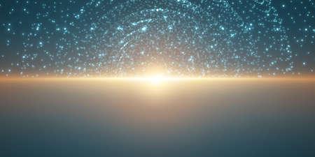 Vektor unendliches Raummuster. Matrix der leuchtenden Sterne mit Illusion von Tiefe und Perspektive. Brennender Sonnenaufgang des abstrakten Cyber ??über Meer. Abstraktes futuristisches Universum auf hellblauem Muster. Standard-Bild - 76149599