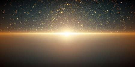 無限の空間パターンをベクトルします。奥行きと遠近感のイリュー ジョンの輝く星の行列。海の抽象的なサイバー燃えるような日の出。暗い青緑色