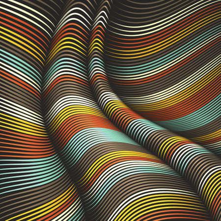 Vector warped lijnen achtergrond. Flexibele strepen gedraaid als zijden die volumetrische vouwen vormen. Kleurrijke strepen met variabele breedte. Moderne abstracte creatieve achtergrond.