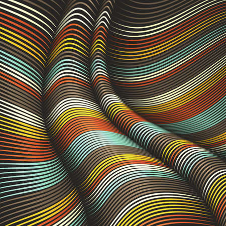 Vector warped lines background. Flexible stripes twisted as silk forming volumetric folds. Colorful stripes with variable width. Modern abstract creative backdrop. Standard-Bild - 76107905