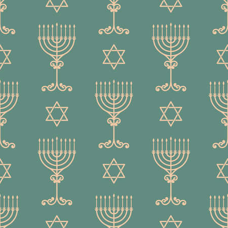 hannukah: Vector hanukkah seamless pattern with menorah, dreidel and david star. Luxury traditional ornament, seamless texture for wallpapers, textile,
