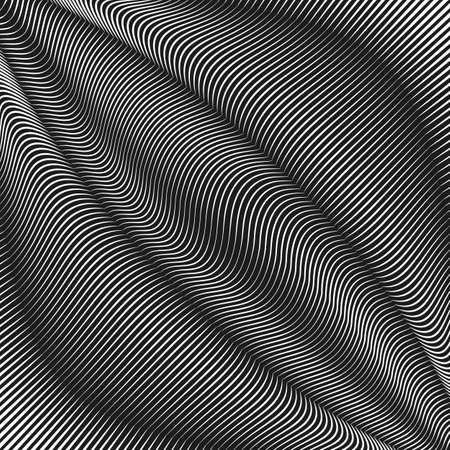 Vector Warped lines background. Flexible stripes twisted as silk forming volumetric folds. Monochrome variable width stripes with shadows and highlights. Modern abstract creative backdrop.