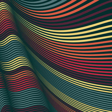 interlace: Vector Warped lines background. Flexible stripes twisted as silk forming volumetric folds. Colorful stripes with variable width. Modern abstract creative backdrop. Illustration