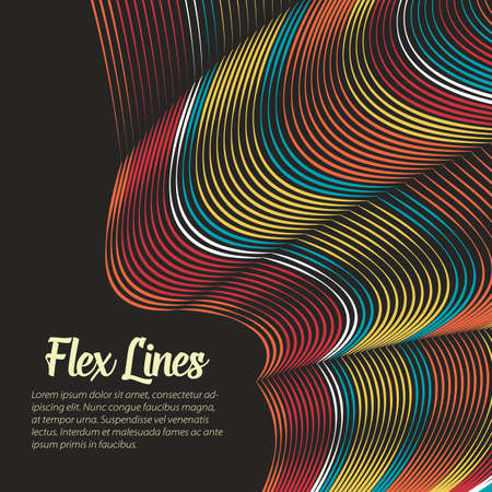 Vector Warped lines background. Flexible stripes twisted as silk forming volumetric folds. Colorful stripes with variable width. Modern abstract creative backdrop. Illustration