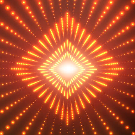 starfield: A Vector infinite rhombic or square tunnel of shining flares on red background. Glowing points form tunnel sectors. Abstract cyber colorful background for your designs. Elegant geometric wallpaper.