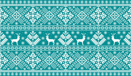 A Vector illustration of folk seamless pattern ornament. Ethnic New Year blue ornament with pine trees and deers. Cool ethnic border element for your designs.