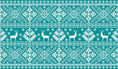 Una ilustración del vector del ornamento popular del modelo inconsútil. Ornamento étnico de año nuevo azul con pinos y ciervos. Elemento fronterizo étnico para sus diseños.