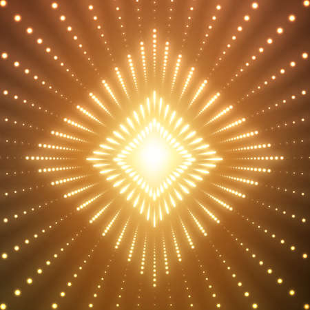 starfield: Square tunnel of shining flares on orange background. Glowing points form tunnel sectors. Abstract cyber colorful background for your designs. Elegant geometric wallpaper. Illustration