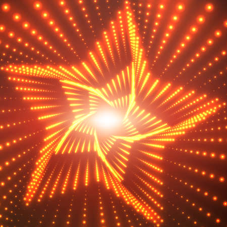Vector infinite star twisted tunnel of shining flares on red background. Glowing points form tunnel sectors. Abstract cyber colorful background. Elegant modern geometric wallpaper. Illustration