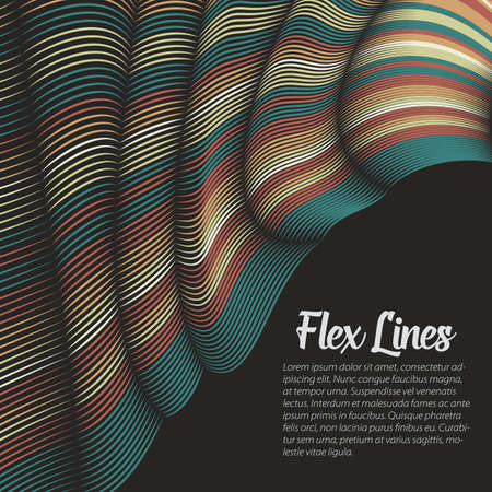 Vector warped lines pattern. Flexible stripes twisted as silk forming volumetric folds. Colorful stripes with variable width. Modern abstract creative backdrop.