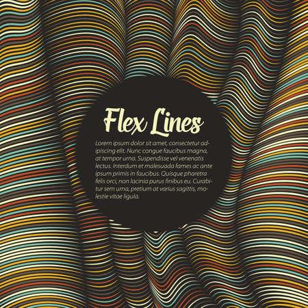 벡터 뒤틀린 된 선 패턴입니다. 유연한 줄무늬가 실크를 형성하여 볼륨 트위스트를 만듭니다. 가변 너비와 다채로운 줄무늬입니다. 현대 추상 창조적