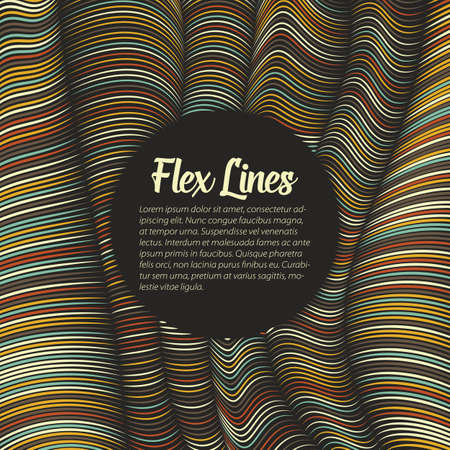variable: Vector warped lines pattern. Flexible stripes twisted as silk forming volumetric folds. Colorful stripes with variable width. Modern abstract creative backdrop.