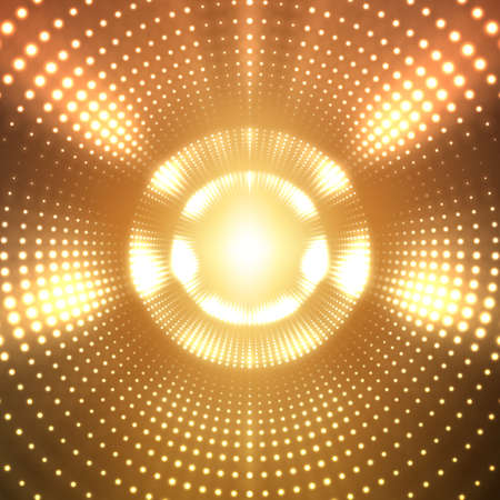 Vector infinite round tunnel of shining flares on orange background. Glowing points form tunnel sectors. Abstract cyber colorful background for your designs. Elegant modern geometric wallpaper.