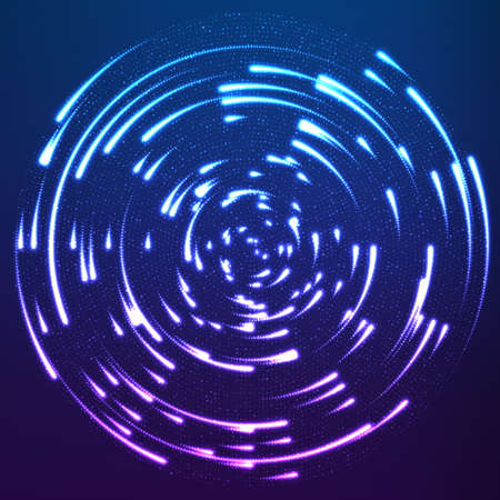 Vector glowing particles flying around the center leaving trails. Radar like violet pattern. Spinning shining comets. Elegant modern geometric wallpaper.