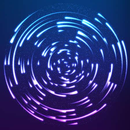 가신을 떠나 센터 주위 비행 벡터 빛나는 입자. 레이더 바이올렛 패턴처럼. 빛나는 혜성 회전. 우아한 현대 형상 벽지입니다.