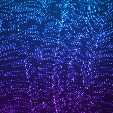 wrinkly: Vector warped dotted lines background. Flexible stripes of shining points twisted as silk forming volumetric folds. Glowing point cyber waves. Modern abstract creative backdrop.