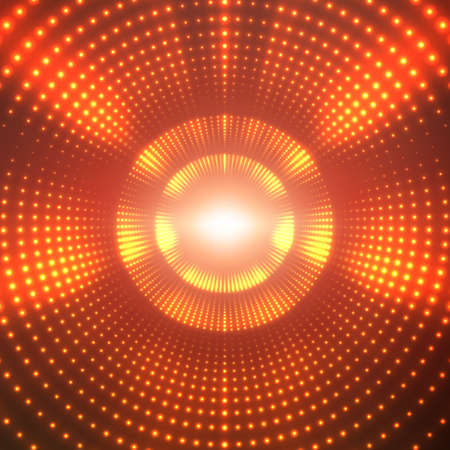 A Vector infinite round tunnel of shining flares on red background. Glowing points form tunnel sectors. Abstract cyber colorful background for your designs. Elegant modern geometric wallpaper.