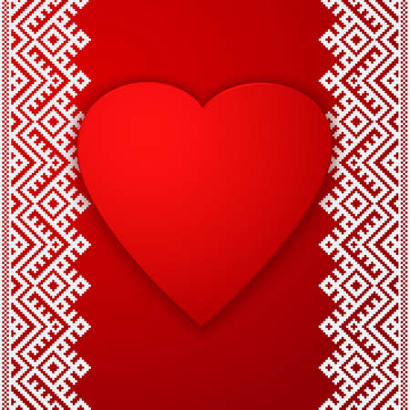 Happy Valentines day vector card. With ethnic border white stripe and big red heart. Elegant and tender gift or invitation card. Illustration
