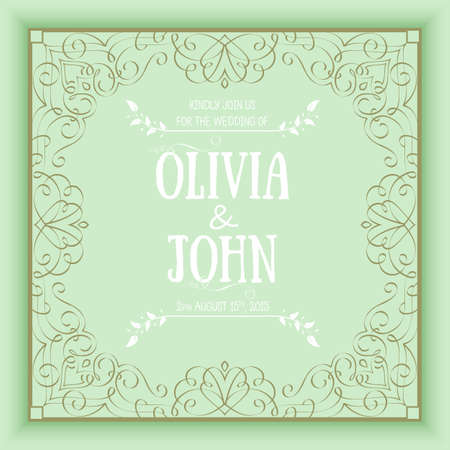 initial: Vector floral and geometric monogram frame on green background. Elegant invitation or wedding card. Design element.