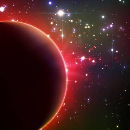 행성와 스타의 일식 추상적 인 벡터 빨간색 배경. 밝은 별빛은 행성의 가장자리에서 빛난다. 별 배경 반짝임입니다.
