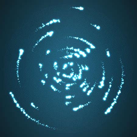가신을 떠나 센터 주위 비행 벡터 빛나는 입자. 레이더 파란색 배경처럼. 혜성 빛나는 혜성입니다. 우아한 현대 형상 벽지입니다.