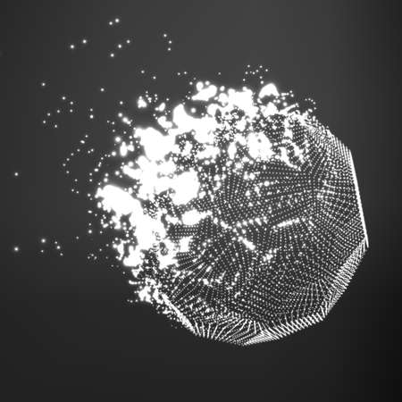 Abstract vector grayscale mesh background. Destroying of abstract comet. Futuristic technology style. Elegant background for business presentations. Flying debris. eps10
