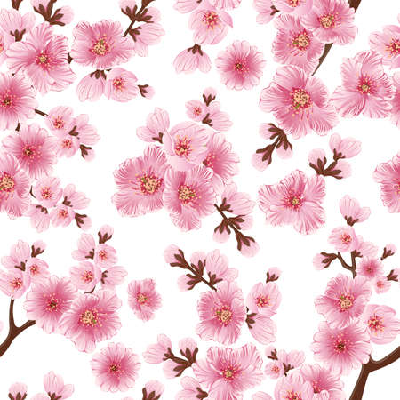old backgrounds: Vector sakura flower seamless pattern element. Elegant cherry blossom texture for backgrounds. Classical luxury old fashioned floral ornament, seamless texture for wallpapers, textile, wrapping.