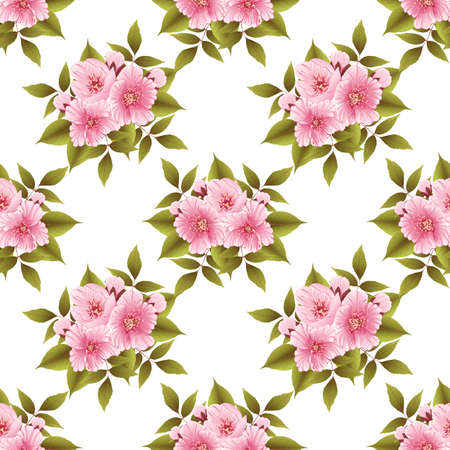 old fashioned: Vector sakura flower seamless pattern background. Elegant cherry blossom texture for backgrounds. Classical luxury old fashioned floral ornament, seamless texture for wallpapers, textile, wrapping.