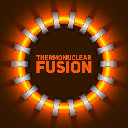 Abstrakte Abbildung des Vektors des thermonuklearen Fusionsreaktors. Plasmastrom fließt in Ringfeldspulen. Tokamak oder stellator vereinfachte Konstruktion. Rotes Leuchten der Energie.