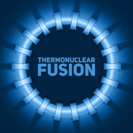 Vector abstract illustration of thermonuclear fusion reactor. Plasma current flows in toroidal field coils. Tokamak or stellator simplified construction. Blue glow of energy.