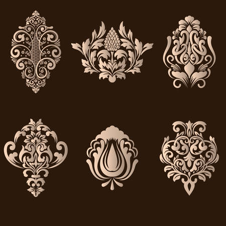 royal wedding: Vector set of damask ornamental elements. Elegant floral abstract elements for design. Perfect for invitations, cards etc.