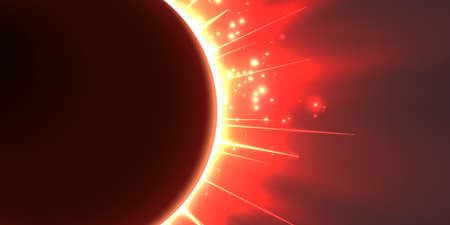 starfield: Abstract vector red background with planet and eclipse of its star. Bright star light shine from the edges of a planet. Sparkles of stars on the background.