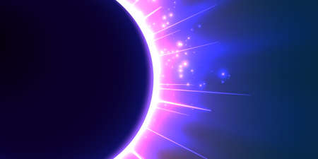 Abstract vector blue background with planet and eclipse of its star. Bright star violet light shine from the edges of a planet. Sparkles of stars on the background.