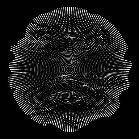 Abstract vector white mesh on dark background. Futuristic style card. Elegant background for business presentations. Corrupted point sphere. Chaos aesthetics.