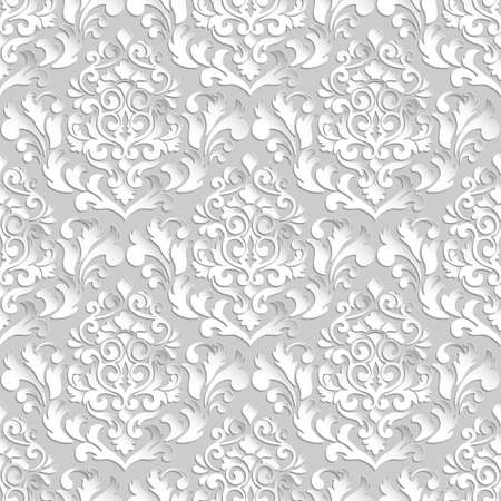 backgrounds texture: Vector damask seamless pattern background. Elegant luxury texture for wallpapers, backgrounds and page fill. 3D elements with shadows and highlights. Paper cut.